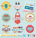 Bikini and Swimsuit Labels and Stickers. Collection of retro style bikini and swimsuit labels and stickers Stock Photography