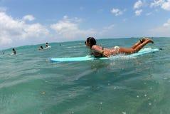 Bikini Teen Surfer. A bikini teen longboard surfer paddling to the line up stock photography