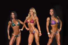 Bikini Threesome Bust Out. Tempting and tanned Racheal Tuck, Cori Baker, and Lorie Foreman, compete and dazzle in the Bikini competition at the 2015 NPC Universe Royalty Free Stock Photo