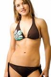 Bikini time. Pretty Natalie poses in her bikini set against white backdrop Royalty Free Stock Photo
