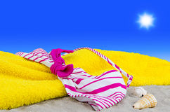 Bikini top on the beach. A bikini top on the beach Royalty Free Stock Photo