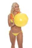 Bikini van de Bal van het strand de Blonde Gele royalty-vrije stock afbeeldingen