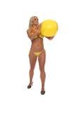 Bikini van de Bal van het strand de Blonde Gele stock foto