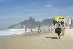 Bikini Vendor Ipanema Beach Rio de Janeiro Morning Scene Stock Photos