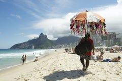 Bikini Vendor Ipanema Beach Rio de Janeiro Skyline Royalty Free Stock Photo