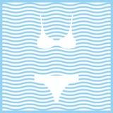 bikini Wektor barwiona ikona na falistym pasiastym tle ilustracji