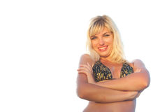 Bikini woman. Smiling tan bikini woman. Isolated on white Royalty Free Stock Photos