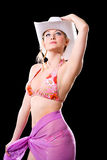 Bikini woman with cowbow hat Stock Photography