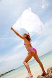 Bikini woman feeling the wind Royalty Free Stock Photos