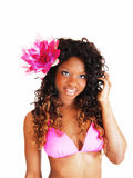 Bikini woman with flower. Royalty Free Stock Images