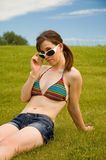 Bikini woman in grass Stock Photo