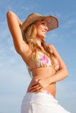 Bikini woman with hat Stock Photo