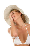 Bikini woman laughing Stock Image