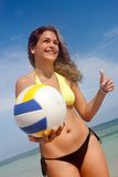 Bikini woman with a volleyball Royalty Free Stock Photos