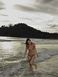 Bikini Woman Walking In Water At Beach Royalty Free Stock Photography