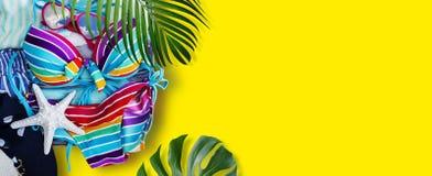 Bikini y ropa coloridos en equipaje con las hojas tropicales fotos de archivo