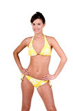 bikinibrunettkvinna royaltyfri foto