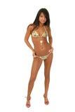 bikinibrunettmodell Royaltyfri Fotografi