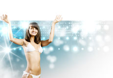 Bikiniflicka med banret Royaltyfria Foton