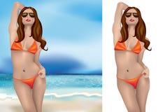 Bikinimädchen mit Sonnenbrillen lizenzfreie abbildung