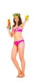 Bikinimeisje met twee waterkanon Royalty-vrije Stock Afbeelding