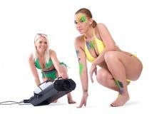 Bikinimodel met bodypaint Stock Afbeelding