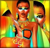 Bikinimodellen, skalar tillbaka effekt Arkivfoton