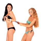 bikinis κορίτσια δύο Στοκ φωτογραφία με δικαίωμα ελεύθερης χρήσης