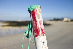 Bikinispitze auf Pfosten am Strand Lizenzfreie Stockfotografie