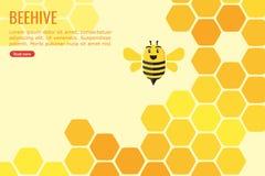 Bikupa som fylls med honung- och biInformation-diagram design stock illustrationer