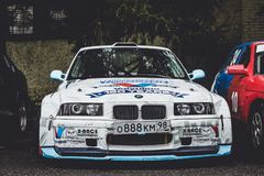 Bil BMW 3 serie, tävlings- motorsport för projektdriva Arkivfoton