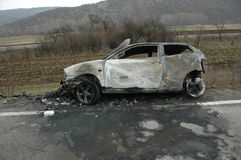 Bil efter brand Fotografering för Bildbyråer
