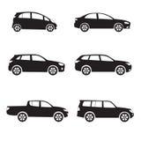Bil- eller medelsymbolsuppsättning Olik vektorbilform Arkivfoto