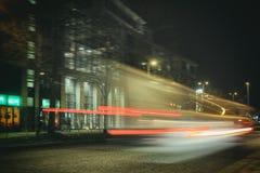 Bil för laser för exponering för tid för Reeperbahn Hamburg absturzparti arkivfoton