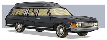 Bil för likvagn för tecknad filmsvart gammal lång klassisk begravnings- stock illustrationer