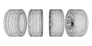 bil gjorda set hjul 3d Royaltyfri Bild