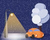 Bil i snowen royaltyfri illustrationer