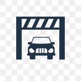 Bil inom en garagevektorsymbol som isoleras på genomskinlig backgrou stock illustrationer
