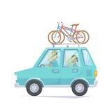 Bil med cykeln Royaltyfria Foton