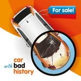 Bil med dålig historia royaltyfri illustrationer