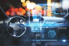 Bil med den digitala manöverenheten royaltyfri bild