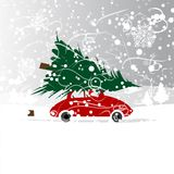 Bil med julträdet, vinterhäftig snöstorm för ditt Royaltyfria Foton