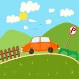 Bil och berg royaltyfri illustrationer