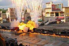 Bil och brand för show för jippo för Disney världsOrlando Florida Hollywood studior Royaltyfria Bilder
