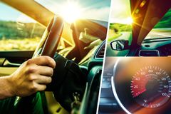 Bil och chaufför Collage royaltyfri foto