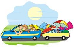 Bil och familj Royaltyfria Bilder
