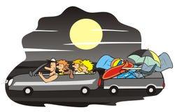 Bil och familj - natt Arkivfoton