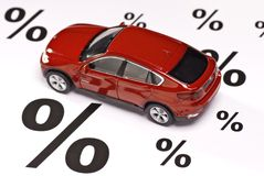 Bil och procenttecken Royaltyfria Foton