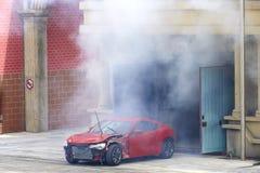 Bil på brand Arkivfoto