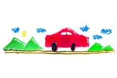 Bil på vägungeteckningen vektor illustrationer